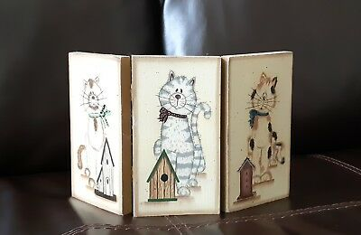 Cat  print On Small Wood Screen  By Mary Ann June