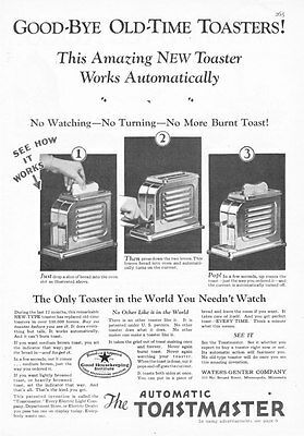 """1928 Automatic Toastmaster Toaster 3 photo """"No Watching No Turning"""" print ad"""