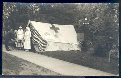 Red Cross, RPPC, Two Nurses Recruiting Help, Flag, Tent