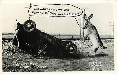 Exaggeration, Conrad Safety First No 92, RPPC, Driver Stop Look & Listen, Rabbit
