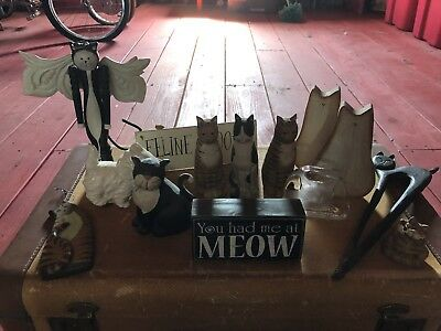 Cat Kitty Kitten Lot Wooden Glass Signs Meow