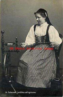 Iceland, Islensk, RPPC, Woman in Native Costume Working, Spinstress