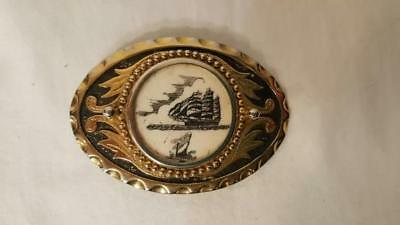 Scrimshaw Belt Buckle with Schooner Ship and Whale Brass