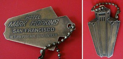 Vint MARK HOPKINS HOTEL (San Francisco) Brass Key Fob Tag; Nice Image; Keychain
