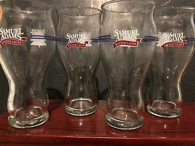 "4 Samuel Sam Adams Boston Lager Glass 6.5"" Tall Sensory Beer Pint Glasses"