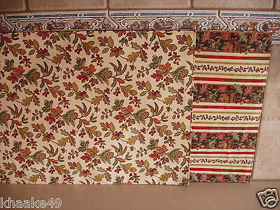Longaberger Autumn Path / Stripe Reversible Placemats Set Of 2 New Free Shipping
