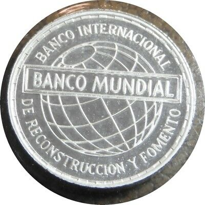 elf Equatorial Guinea 25 Pesetas 1970 Silver Proof  World Bank  Globe