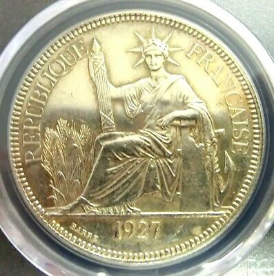 PCGS UNC Detail Secure-French Indo-China 1927A Seated Liberty Silver 1 Piastre