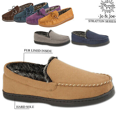 Mens Stratton Moccasins Slippers Loafers Faux Suede Fur Lined Winter Shoes Size