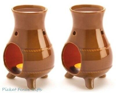 2 EARTHEN OVEN OIL WARMERS Ceramic Aromatherapy Fragrance Diffuser Wax Burner