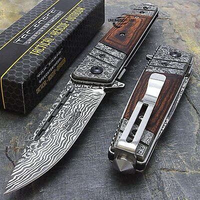 """8"""" DAMASCUS STYLE WOOD SPRING ASSISTED TACTICAL FOLDING KNIFE Blade Pocket Open"""