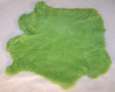 auction LIME GREEN GENUINE RABBIT SKIN leather tan hide fur pelt skins bunny NEW