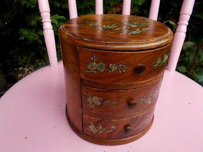 Vintage~Antique Miniature Wooden Chest Of Drawers~Inlayed Abolone Shell & Brass