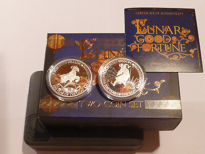 TUVALU 2015  2x1 TVD  2x1 OZ 999-er SILVER TWO-COIN-SET  LUNAR  YEAR OF THE GOAT