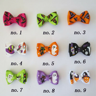 "50 BLESSING Good Girl 2"" Double Bowknot Hair Bow Clip Halloween Accessories"