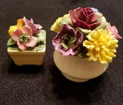 Vintage Hand Painted Bone China Miniature Flower Pots Made in England