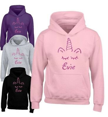 Personalised Pink Glitter Unicorn Hoodie Girl Fantasy Magic Hoodie 3-12 years