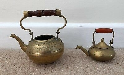 2 x Small Indian Brass Tea Pots Lovely Style Good Condition