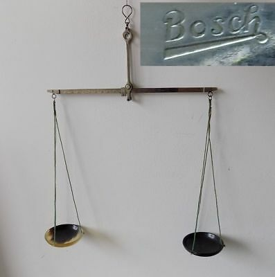 19C. ANTIQUE MEDICAL APOTHECARY 10g. METAL SCALES w/HORN CUPS – BOSCH #18316