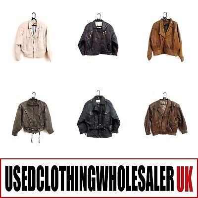 10 WOMEN'S 80's VINTAGE REAL LEATHER JACKETS GLAM ROCK WHOLESALE CLOTHING #2