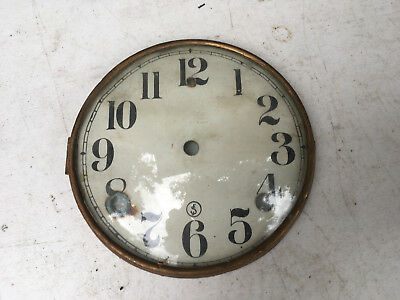 Vintage Paper Clock Face with Bezel and glass  for  Parts / Repair ML154
