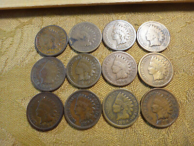 Lot Of 12 United States Indian Head Penny Cents 1c - 1880-1899 - Free S&H USA