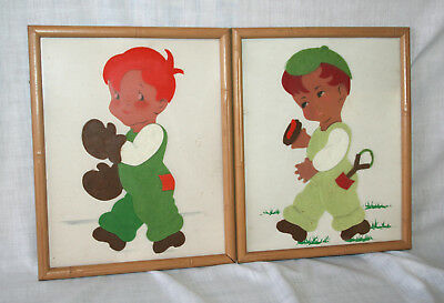 Two Vintage Nusery Decor Felt Pictures Lot Boy Boxing Slingshot Pair