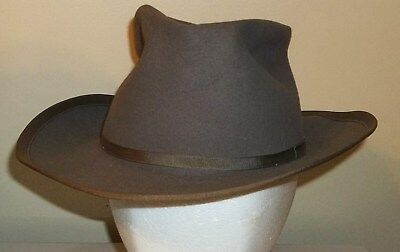 Vtg Taupe Brown Mallory Cravenette Open Road Hat Sz 6 7/8 for Youthful Smartness