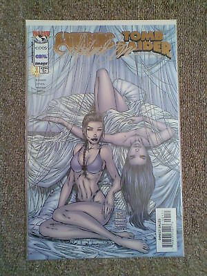 Witchblade / Tomb Raider # 1 Gold Foil cover signed by Michael Turner c/w COA