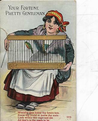 Fortune Teller Novelty Pull-Out  Old  Postcard