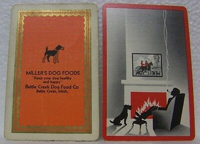 6 Vintage Dog Swap Playing Cards Spaniel Terrier Horse Hunting Fox Millers Food