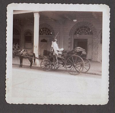 Vintage Old 1945 Cristobal Panama South America Photo Taxi Horse & Carriage Whip
