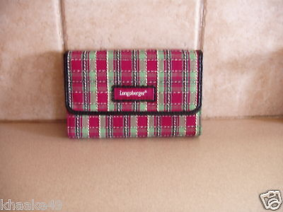 Longaberger Holiday Plaid Wallet With Removable Id Holder * Nip * Free Shipping