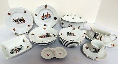 Wonderful Large Child's Set of Dishes Circus Theme Germany 23 Pieces RARE
