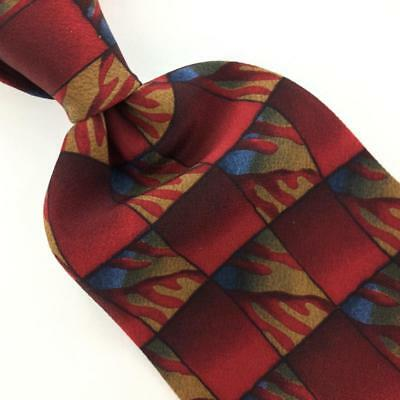 COCKTAIL COLLECTION TIE CHECKERED RED Blue Brown Silk Necktie Ties I10-86  New