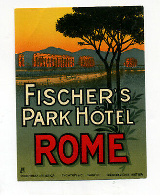 Vintage FISCHER'S PARK HOTEL ROME luggage DECO label  Unused