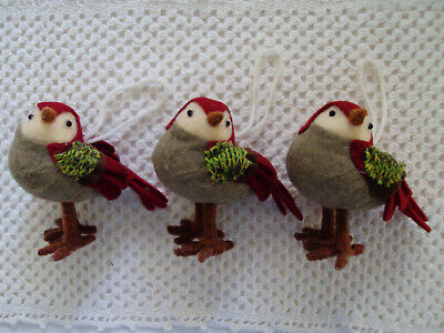 Sweet Little Birds Country Farm Rustic Primitive Christmas Ornaments LOT of 3