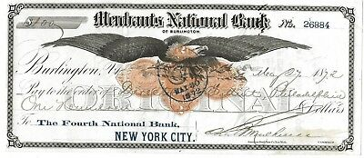1872 check to the Philadelphia Mint signed by Civil War Financier Jay Cooke
