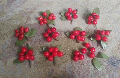 """9 Vintage Millinery 3"""" Cherries Pins For Hats Dress"""