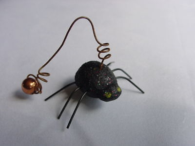 Itty Bitty BLACK SPIDER & WEB ornaments ~ 4pc  NEW Halloween Primitives by Kathy