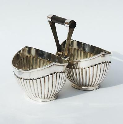 DR CHRISTOPHER DRESSER Style SILVER PLATED DOUBLE BOWL c1885 Roberts & Belk