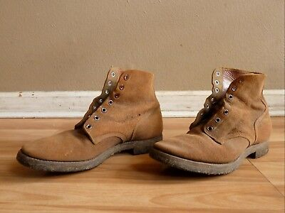 """Authentic Vintage WWII """"Shoes, Service, Reverse Upper"""" Rough Out Combat Boots"""