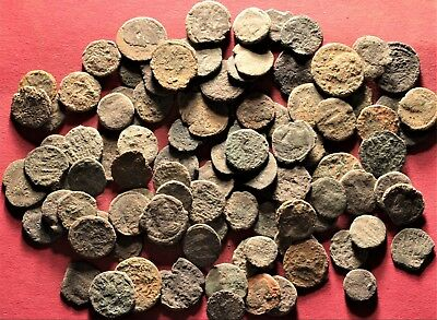 Lot of 100 Ancient Roman Bronze Fragment Coins, AE3, AE4 #3