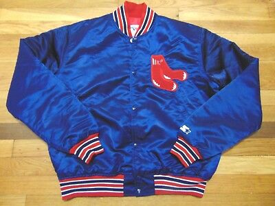 Vintage 80's Starter Mlb Boston Red Sox Satin Jacket Size L Made In Usa