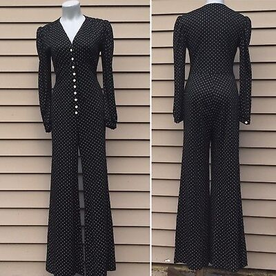 Vintage 70s Jerell Wide Leg Jumpsuit Polka Dot  Long Sleeve Small