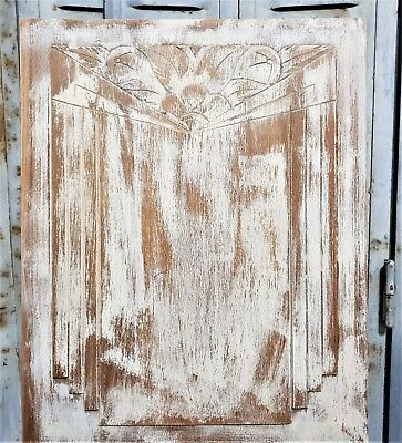 Shabby painted Art Deco panel Antique french carved wood architectural salvage 2