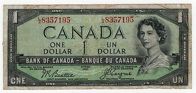 1954 Bank Of Canada One 1 Dollar Devils Face Bank Note La 8357195 Nice Bill