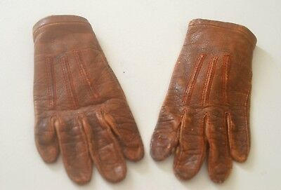 Charming Vintage Antique Child's Leather Gloves Doll Scale Tt120