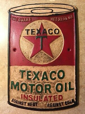 """Texaco Sign Solid 1/4"""" Metal Antique Style Oil & Gas Cast Iron Styled Patina"""