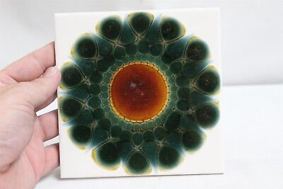 MCM Alan Wallwork England Abstract Starburst 3 Green Pottery Tile #6